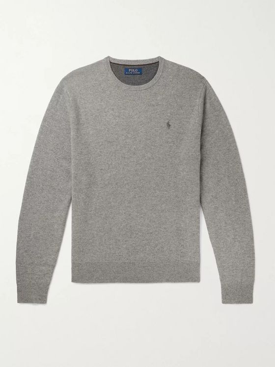 POLO RALPH LAUREN Logo-Embroidered Melangé Wool Sweater