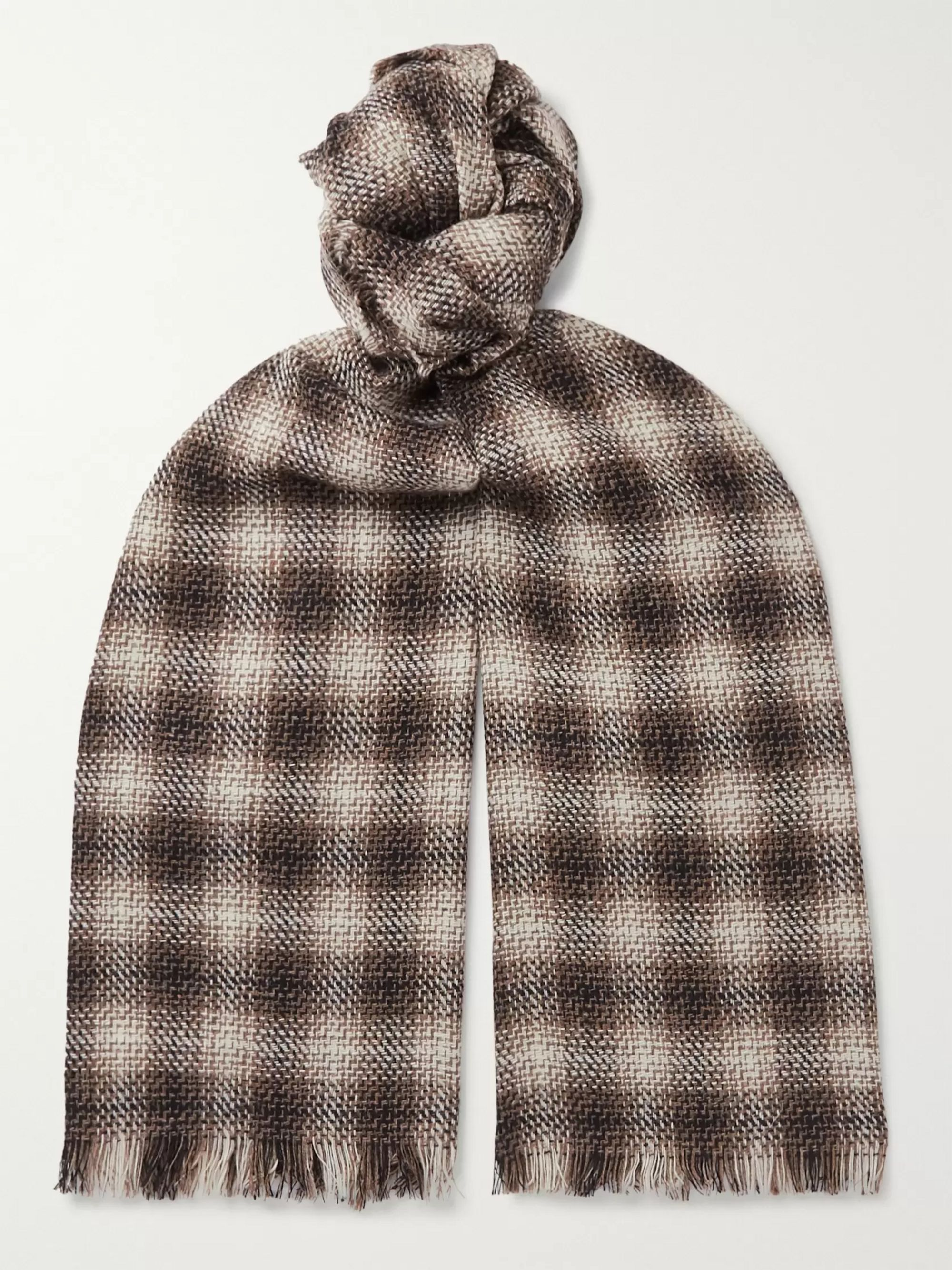 Mr P. Fringed Checked Wool and Cashmere-Blend Scarf