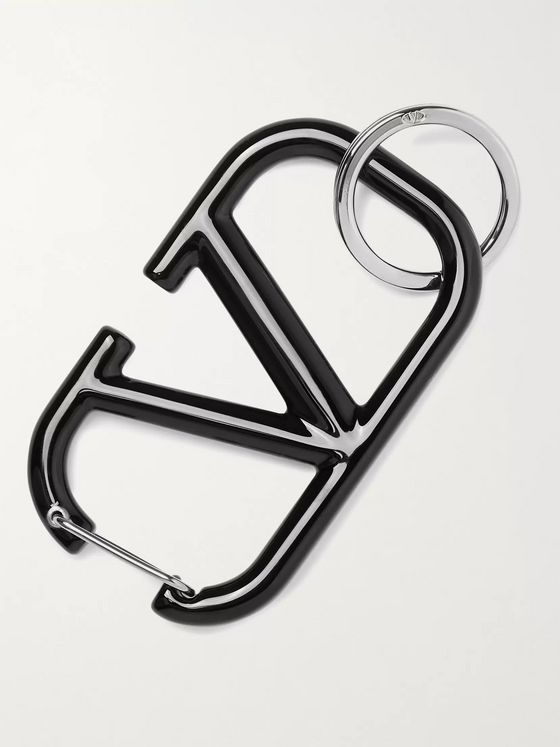 Valentino Silver-Tone and Enamel Key Ring