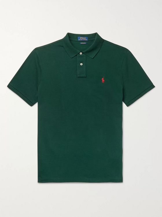 POLO RALPH LAUREN Slim-Fit Logo-Embroidered Cotton-Piqué Polo Shirt