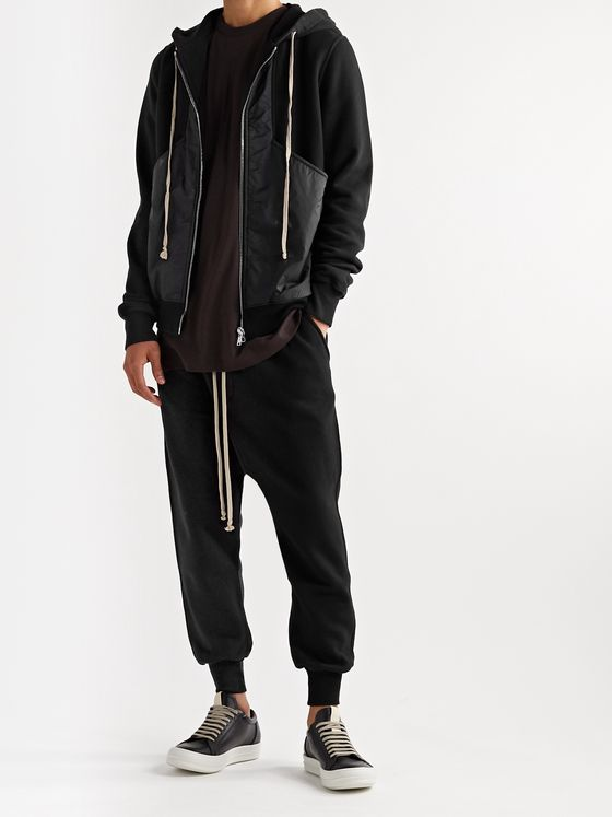 Rick Owens DRKSHDW Poplin-Trimmed Fleece-Back Cotton-Jersey Drawstring Sweatpants