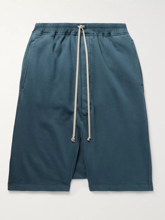 Rick Owens DRKSHDW Pods Fleece-Back Cotton-Jersey Drawstring Shorts