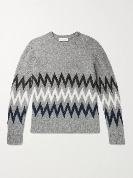 Officine Générale Argyle Intarsia Alpaca-Blend Sweater