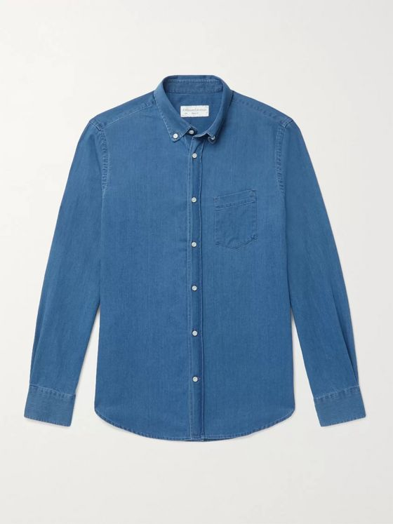 Officine Générale Antime Slim-Fit Button-Down Collar Herringbone Denim Shirt