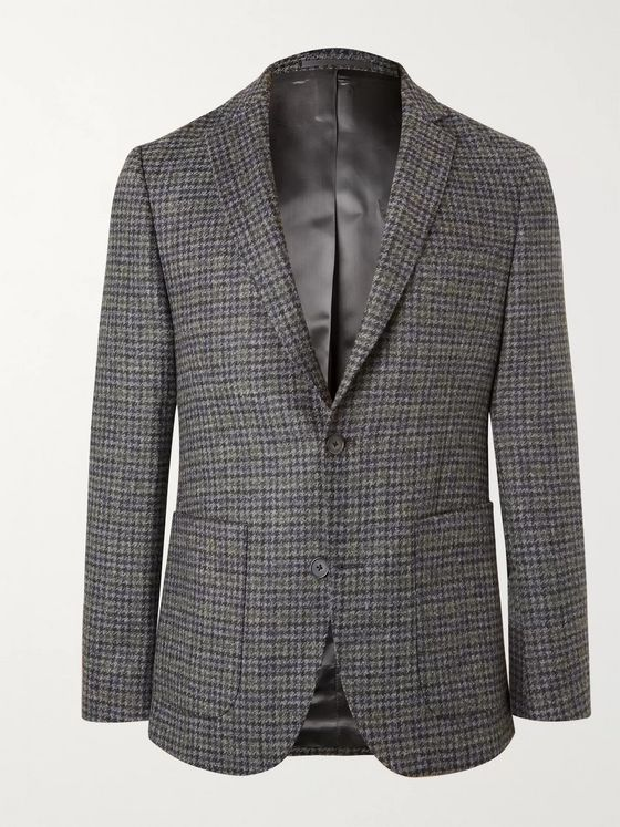 Officine Generale Houndstooth Wool Suit Jacket