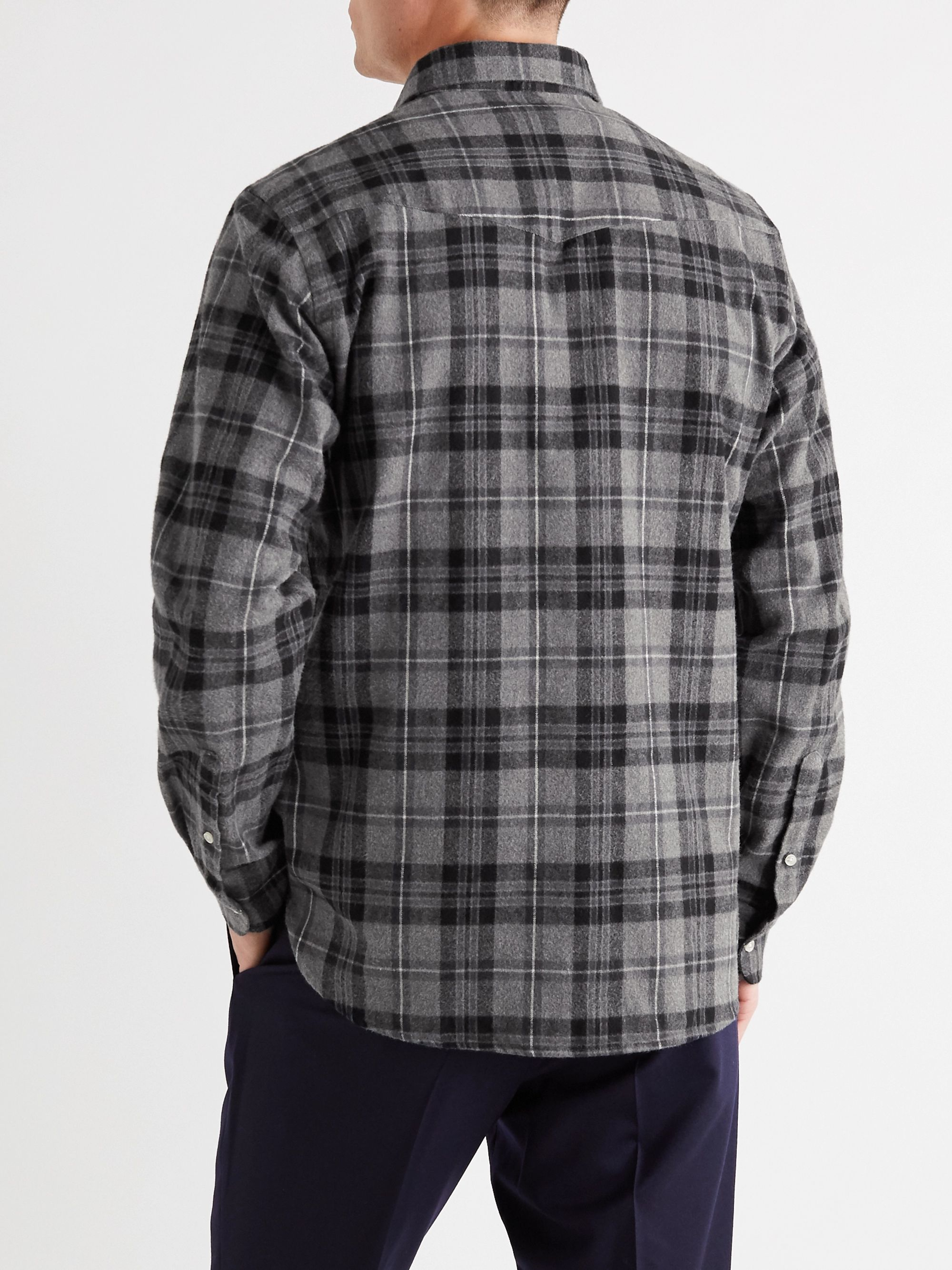 Officine Générale Antime Button-Down Collar Checked Brushed-Cotton Shirt