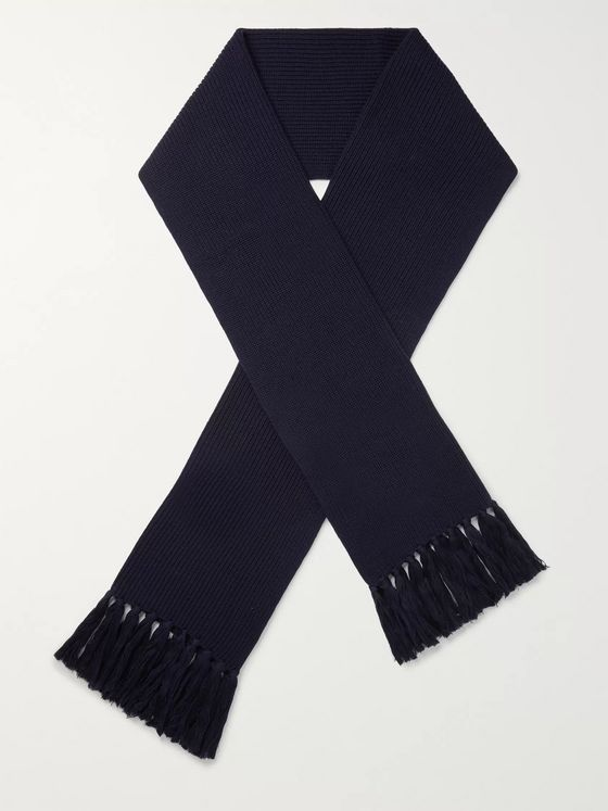 Officine Générale Fringed Ribbed Merino Wool Scarf