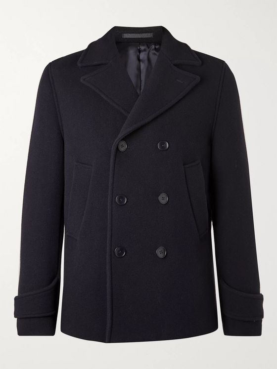 Officine Générale Double-Breasted Padded Virgin Wool-Blend Peacoat