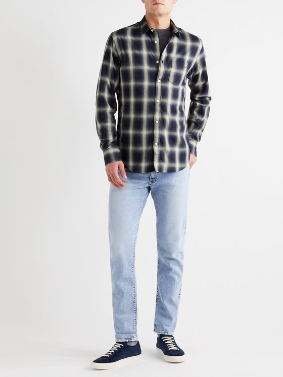 Officine Générale Checked Brushed-Flannel Shirt