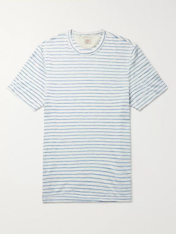 Faherty Striped Slub Mélange Cotton-Blend Jersey T-Shirt