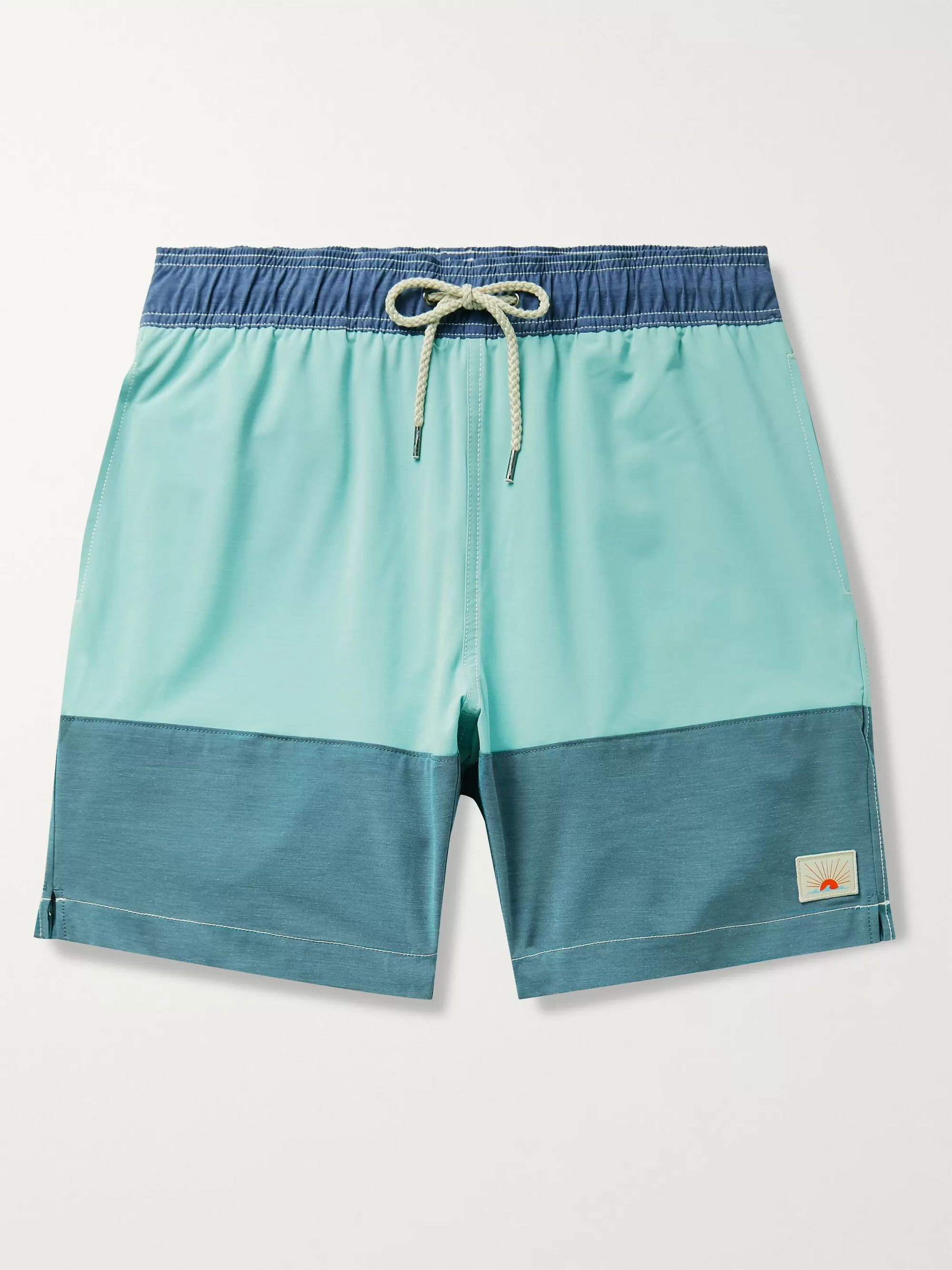 Faherty Beacon Mid-Length Colour-Blocked Swim Shorts
