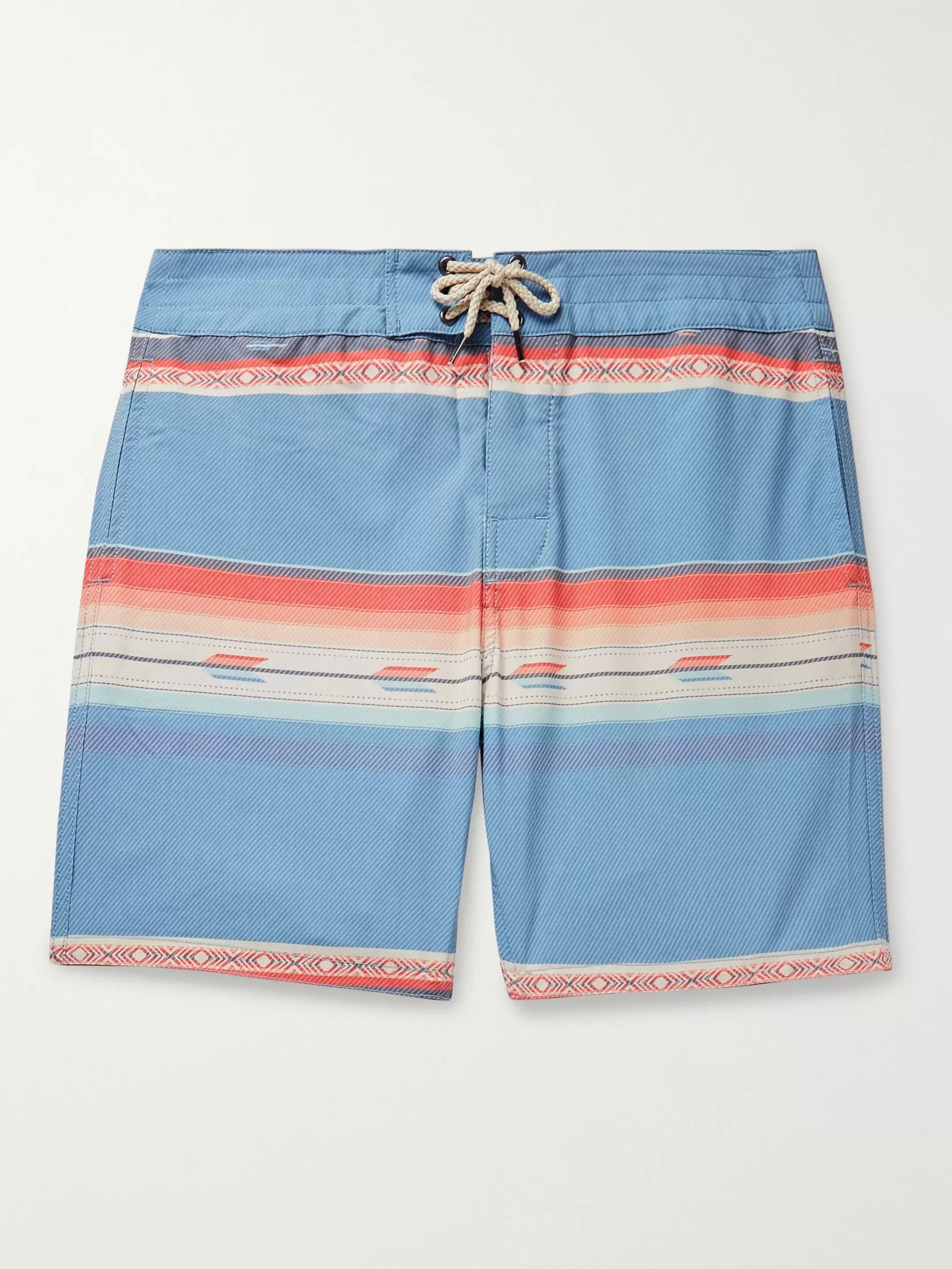 Faherty Mid-Length Striped Swim Shorts