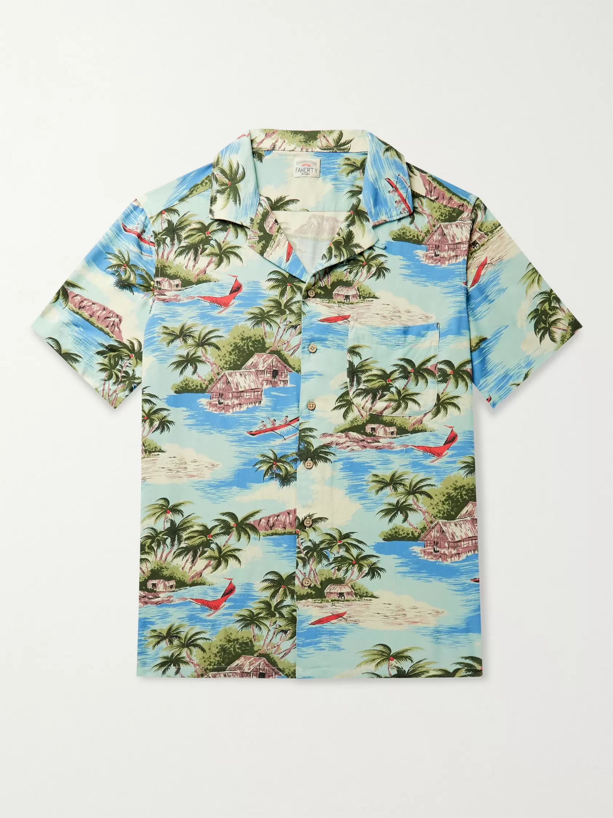 Faherty Kona Camp-Collar Printed Woven Shirt