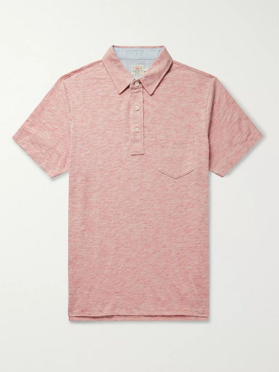 Faherty Chambray-Trimmed Mélange Cotton-Blend Jersey Polo Shirt