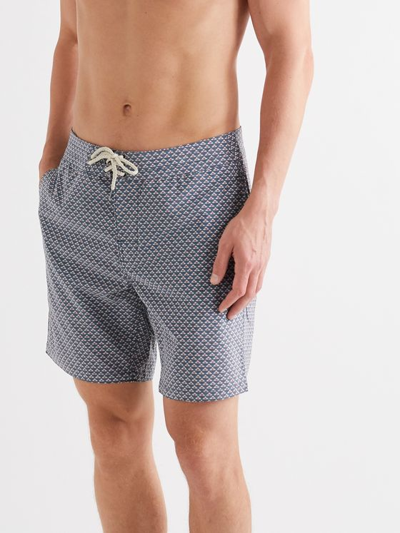 Faherty Classic Mid-Length Printed Swim Shorts