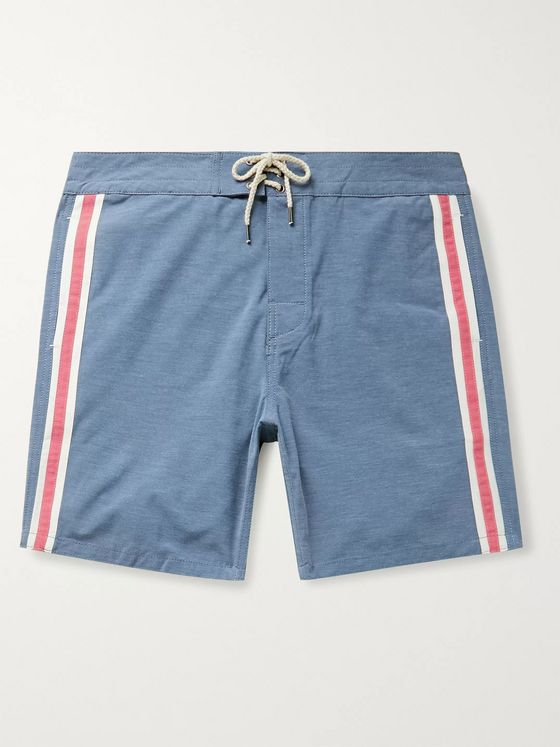 Faherty Retro Surf Mid-Length Striped Swim Shorts