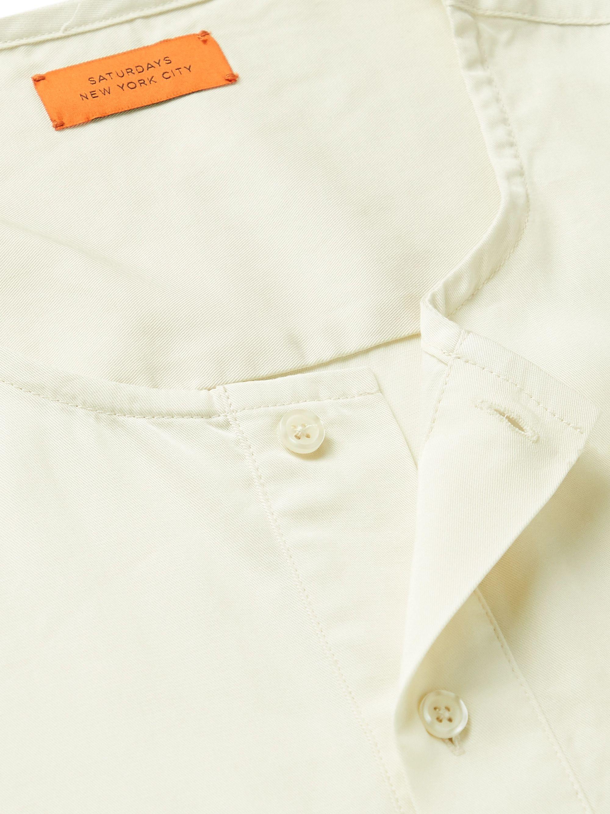 Ecru Lyocell Henley T-shirt | Saturdays Nyc