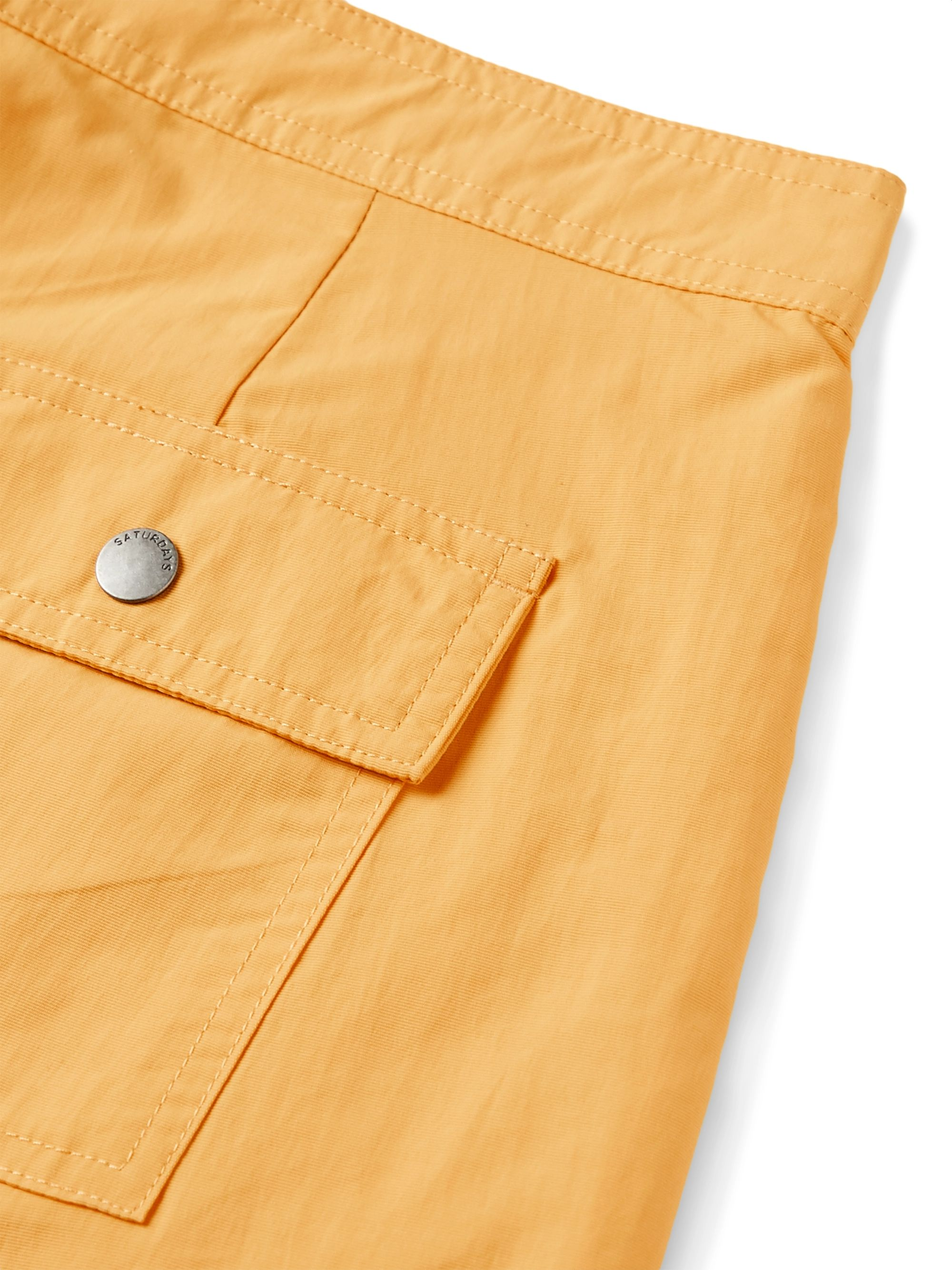 Yellow Mid-length Logo-appliquéd Swim Shorts   Saturdays Nyc
