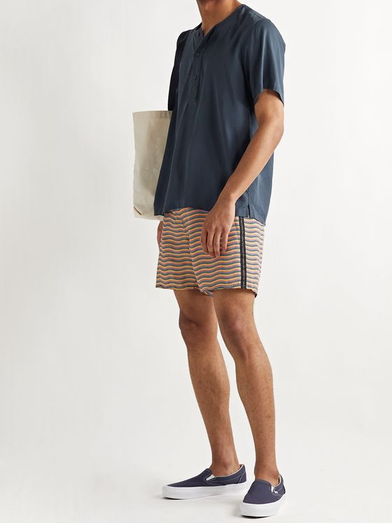 Saturdays NYC Mid-Length Logo-Appliquéd Striped Swim Shorts