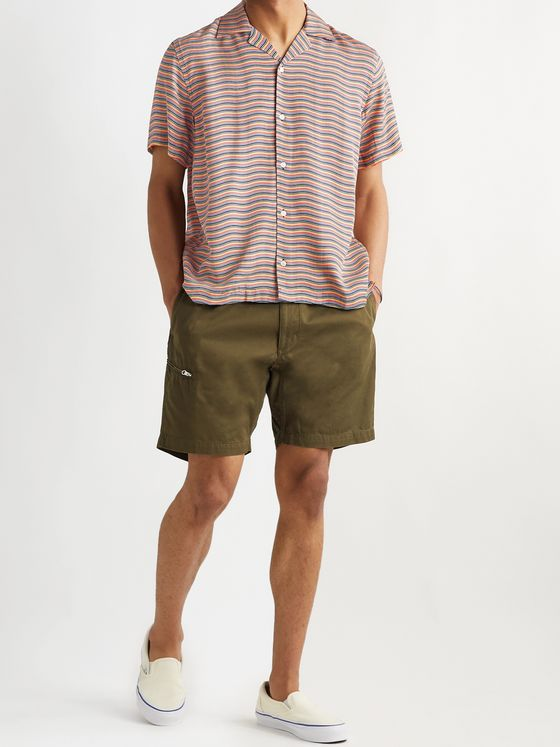 Saturdays NYC Camp-Collar Striped Lyocell-Twill Shirt