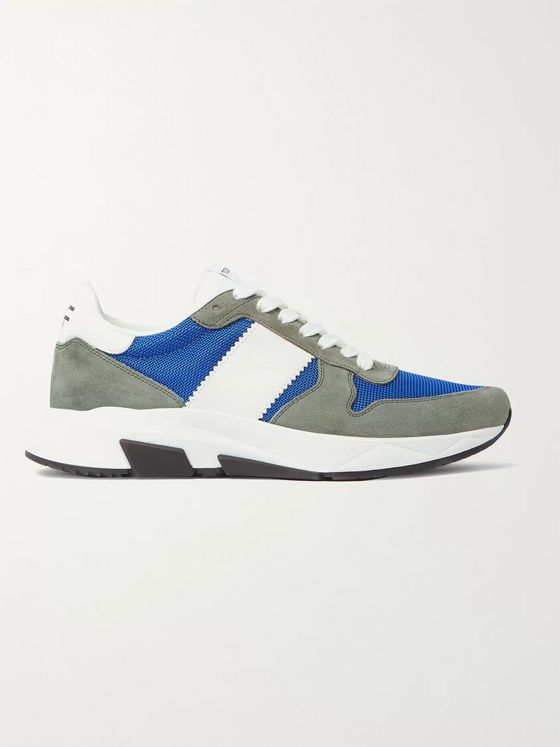 TOM FORD Jagga Leather-Trimmed Suede and Mesh Sneakers