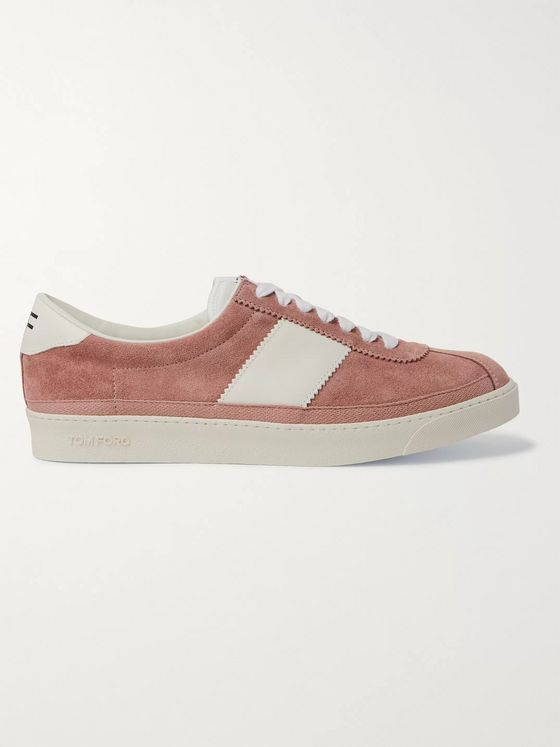 TOM FORD Bannister Leather-Trimmed Suede Sneakers