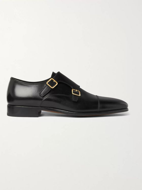 TOM FORD Burnished-Leather Monk-Strap Shoes