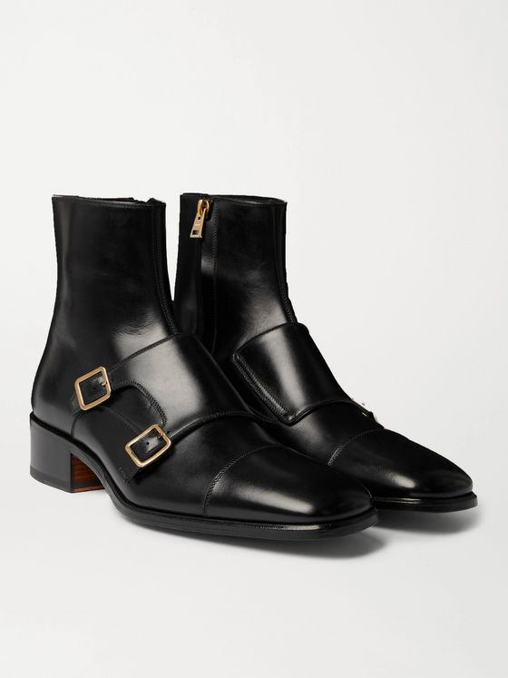 TOM FORD Leather Monk-Strap Boots