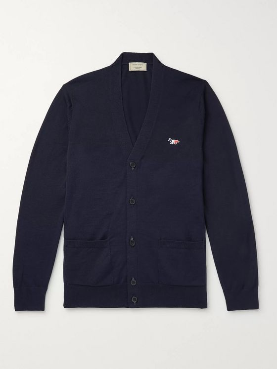 Maison Kitsuné Slim-Fit Logo-Appliquéd Wool Cardigan