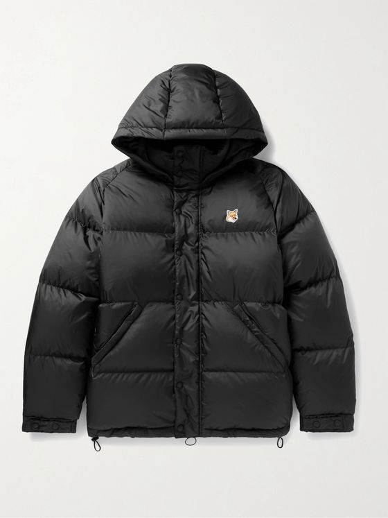 Maison Kitsuné Logo-Appliquéd Quilted Hooded Shell Down Jacket