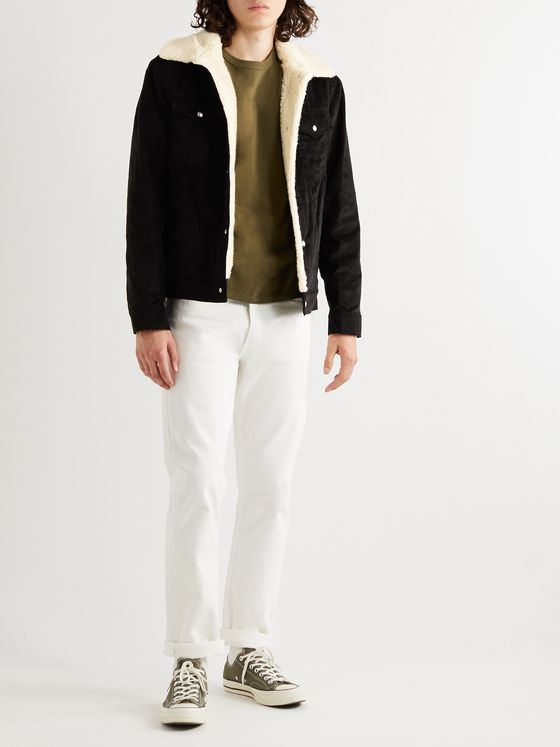 Maison Kitsuné Faux Shearling-Lined Cotton-Corduroy Trucker Jacket