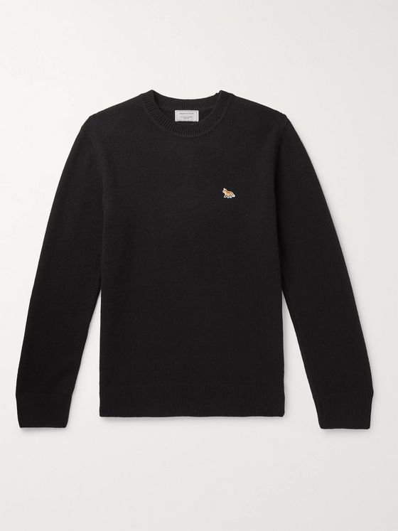 Maison Kitsuné Logo-Appliquéd Wool Sweater