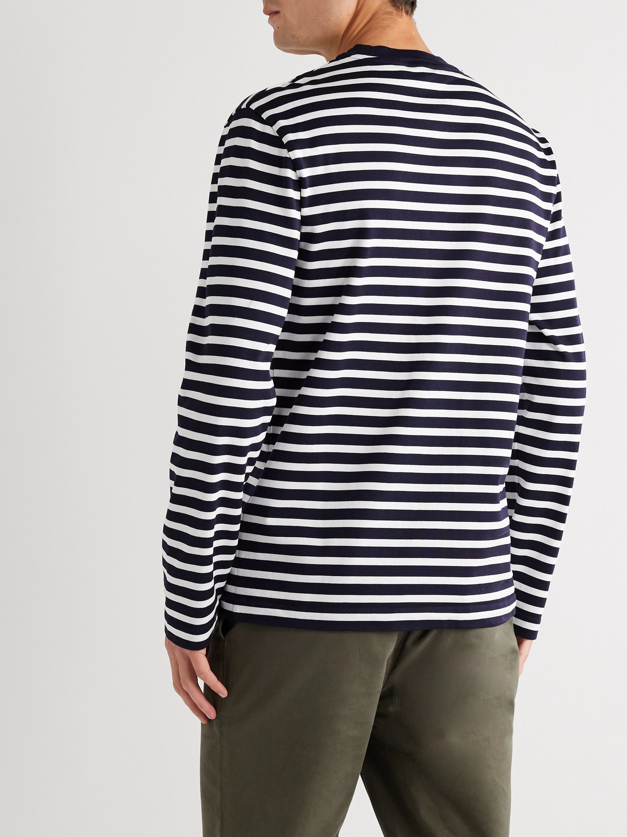Maison Kitsuné Logo-Appliquéd Striped Cotton-Jersey T-Shirt