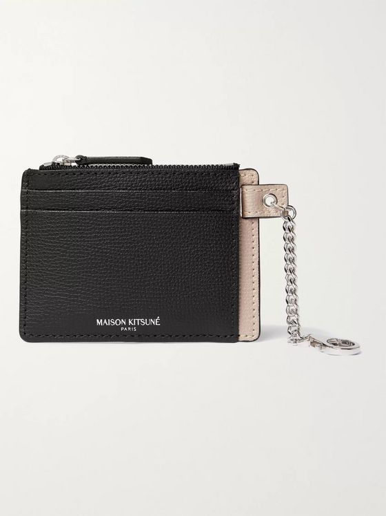Maison Kitsuné Colour-Block Full-Grain Leather Cardholder