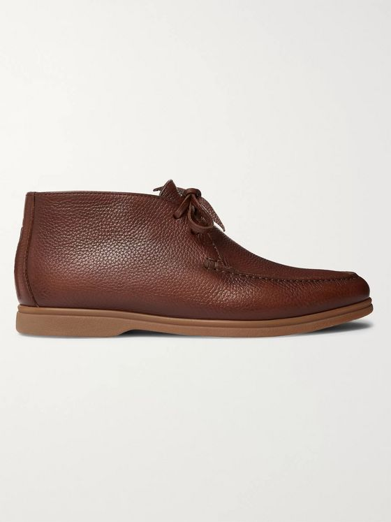 Brunello Cucinelli Shearling-Lined Full-Grain Leather Chukka Boots