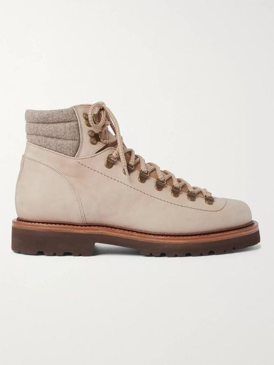 Brunello Cucinelli Mélange Wool- and Leather-Trimmed Nubuck Boots