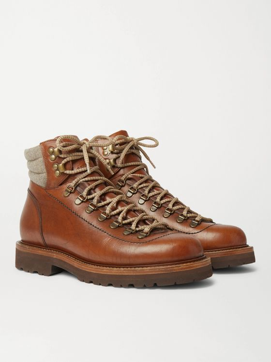 BRUNELLO CUCINELLI Shearling-Trimmed Leather Hiking Boots