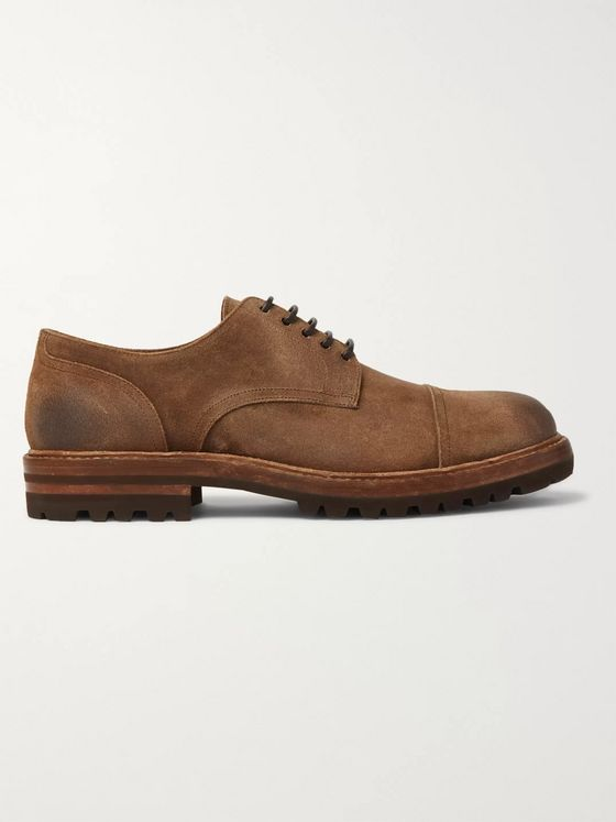 Brunello Cucinelli Cap-Toe Suede Derby Shoes