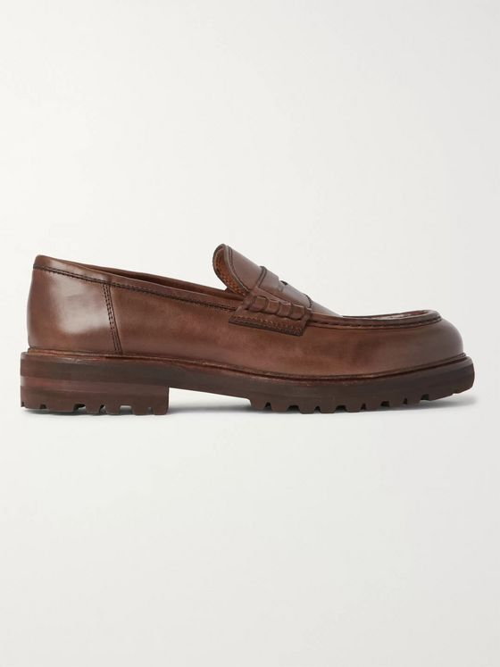 Brunello Cucinelli Burnished-Leather Penny Loafers