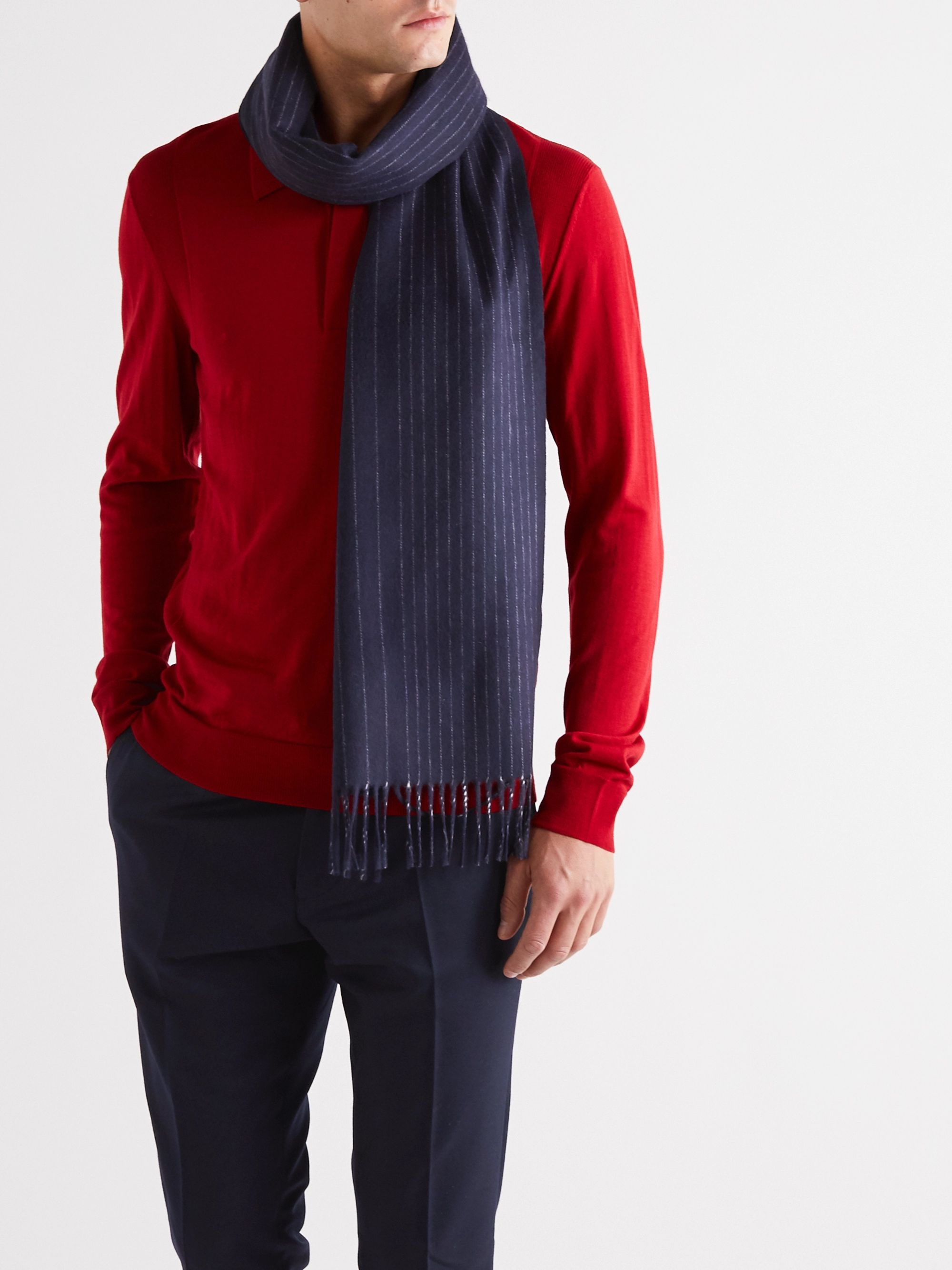 Dunhill Fringed Pinstriped Wool and Cashmere-Blend Scarf