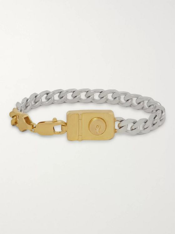 Dunhill Sterling Silver and Gold-Tone Chain Bracelet