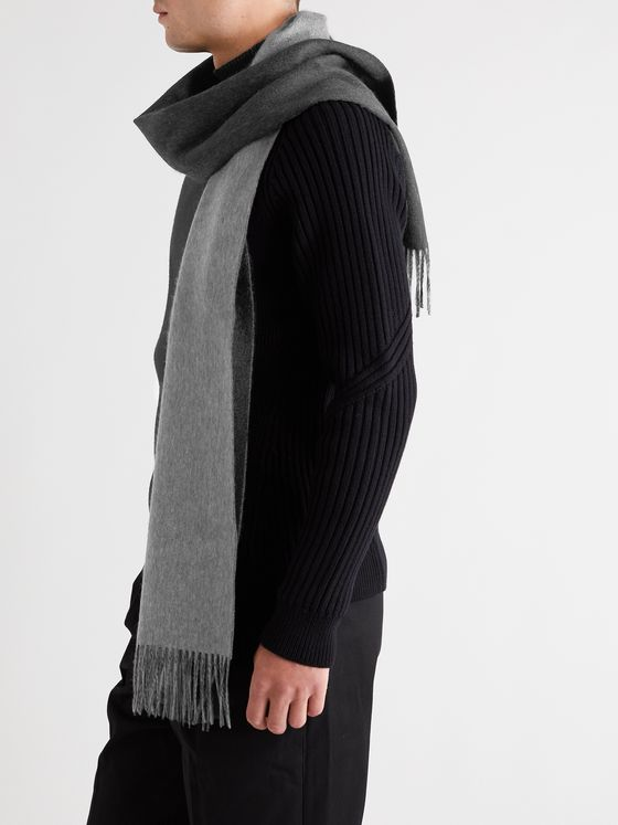Dunhill Reversible Fringed Cashmere Scarf