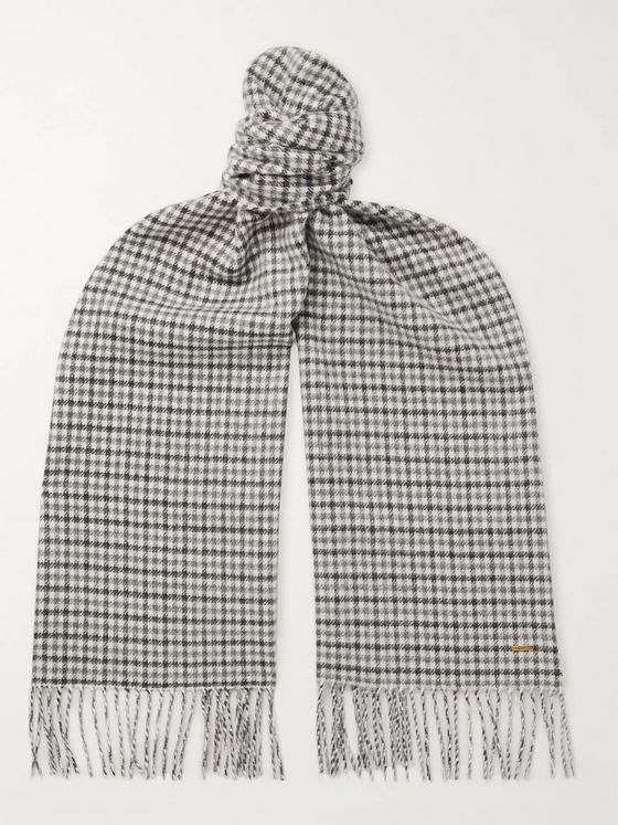 Dunhill Fringed Checked Cashmere Scarf