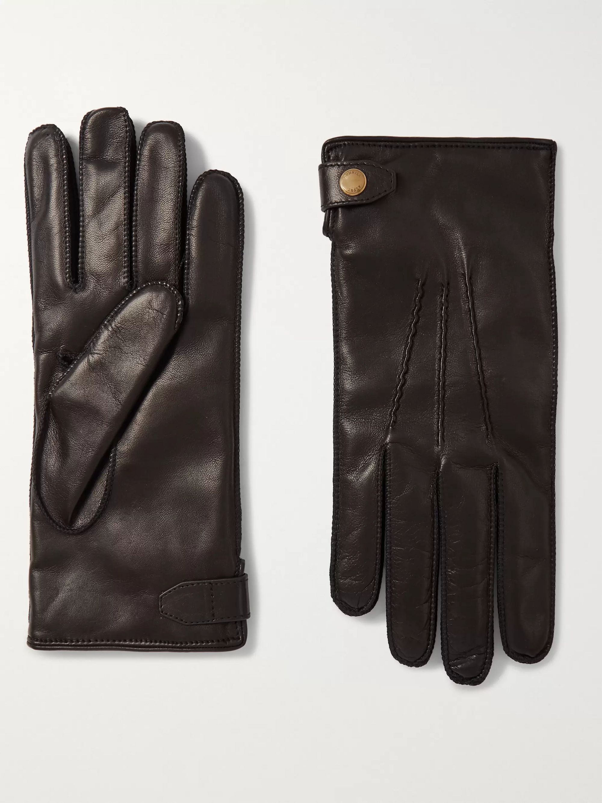 Black Cashmere-lined Leather Gloves | Dunhill