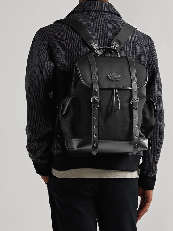 Mulberry Leather-Trimmed ECONYL Nylon-Twill Backpack