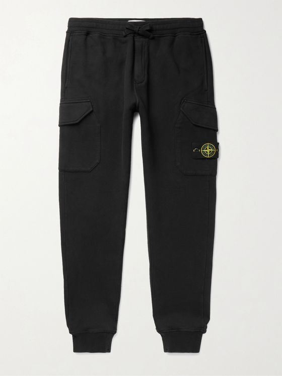 Stone Island Tapered Logo-Appliquéd Loopback Cotton-Jersey Sweatpants
