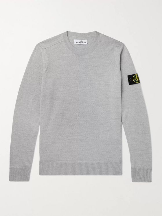 Stone Island Logo-Appliquéd Wool Sweater