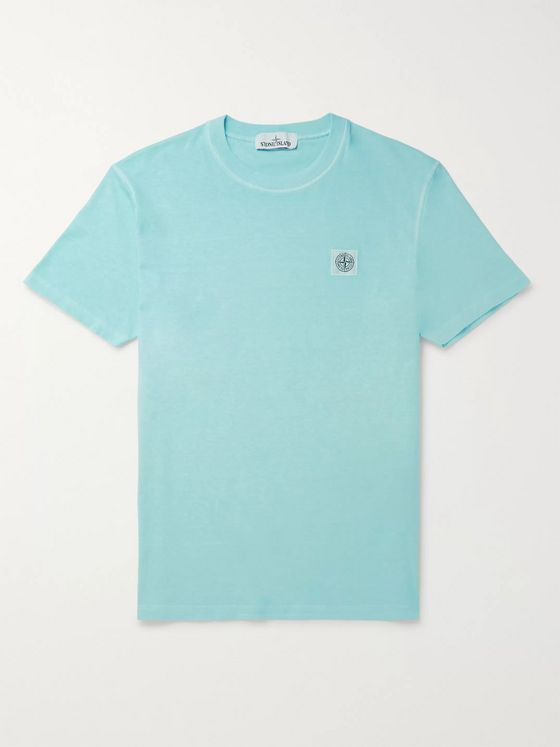 Stone Island Slim-Fit Logo-Detailed Garment-Dyed Cotton-Jersey T-Shirt