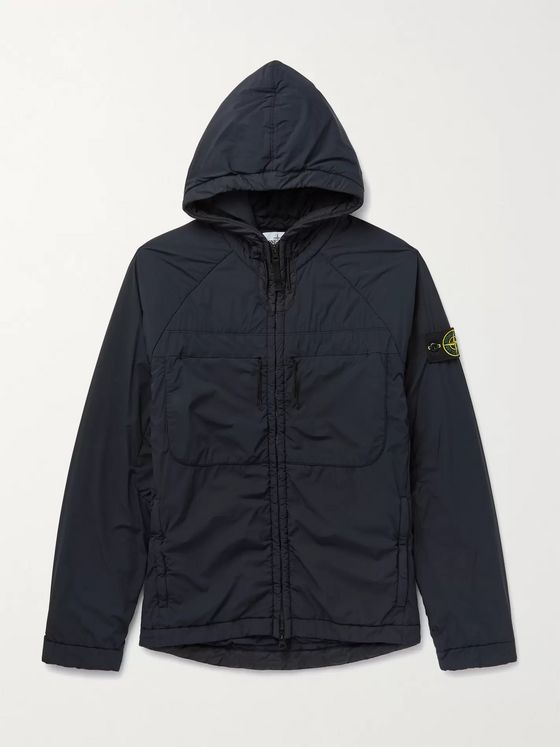 Stone Island Comfort-Tech Logo-Appliquéd Garment-Dyed Stretch-Nylon Padded Hooded Jacket