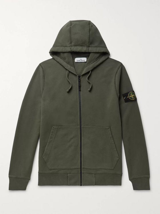 Stone Island Logo-Appliquéd Fleece-Back Cotton-Jersey Zip-Up Hoodie